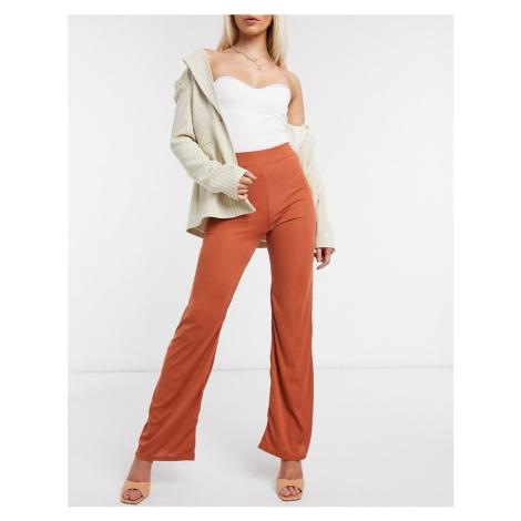 Club L London wide leg trouser co ord in rust-Orange