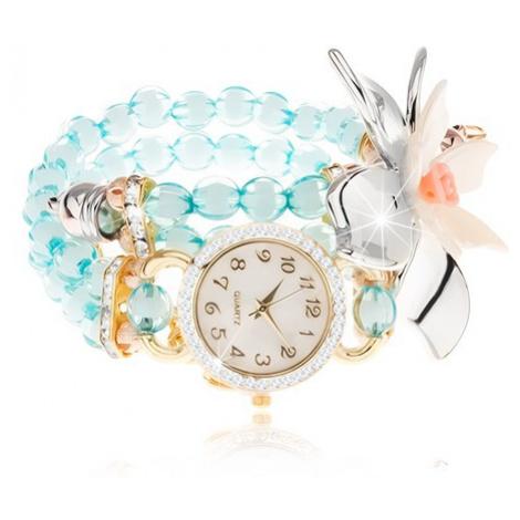 Náramkové hodinky z průhledných modrých korálků, ciferník se zirkony, velký květ Šperky eshop