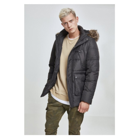 Urban Classics Faux Fur Hooded Jacket black
