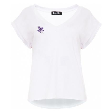 Dámské bílé tričko s výstřihem do V K478