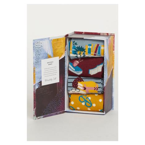 Vícebarevné ponožky v dárkové krabičce The Reader Sock Box - čtyř balení