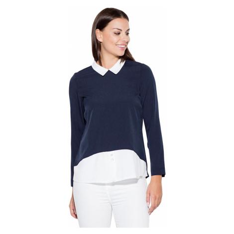 Katrus Woman's Blouse K425 Navy Blue