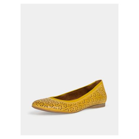 Tamaris žluté kožené baleríny