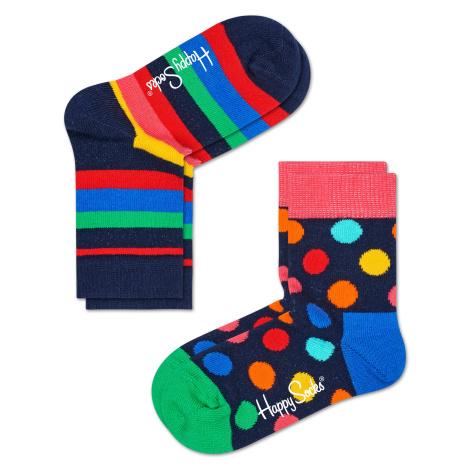 Dětské barevné ponožky Happy Socks, dva páry – Stripes a Big Dot