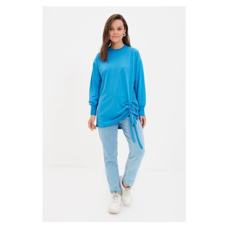 Trendyol Blue Crew Neck Hemline Pleated Knitted Sweatshirt
