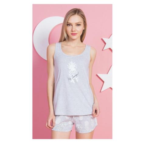 Dámské pyžamo šortky na ramínka Ananas, XL, světle šedá Vienetta Secret