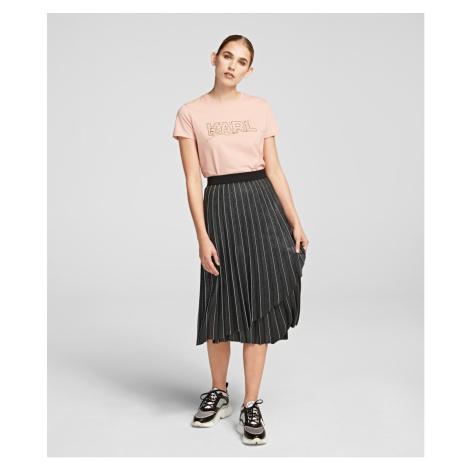 Sukně Karl Lagerfeld Metallic Pleated Skirt - Šedá