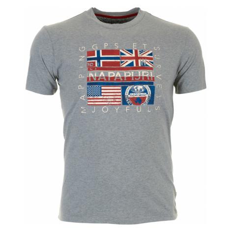 Pánské šedé tričko Napapijri s vlajkovým potiskem