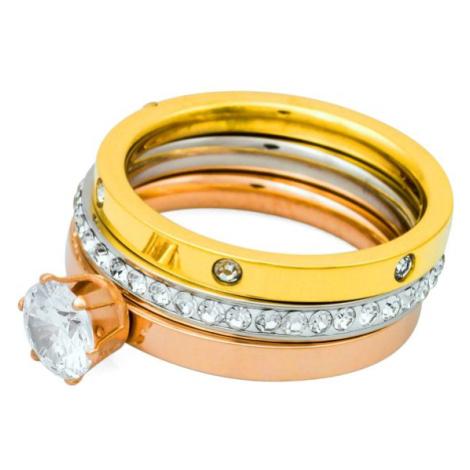Linda's Jewelry Sada prstenů Triple Shiny chirurgická ocel IPR032 Velikost: 54