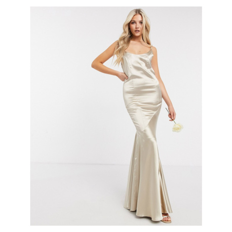 ASOS DESIGN Bridesmaid satin scoop maxi dress with panelled skirt and button back-Neutral