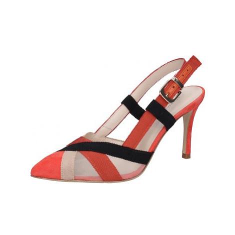 Guido Sgariglia sandali rosso tessuto beige camoscio BZ315 ruznobarevne