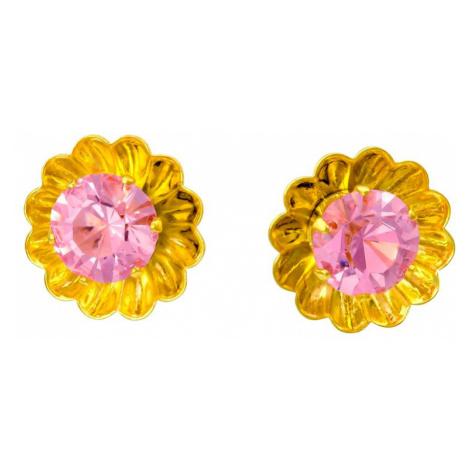 Linda's Jewelry Náušnice Simple Květ pecky chirurgická ocel IN045 Barva: Růžová