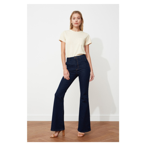 Trendyol Navy Blue Pocket Detailed High Waist Flare Jeans