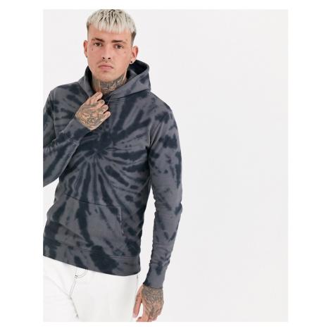 Good For Nothing hoodie in black spiral tie dye