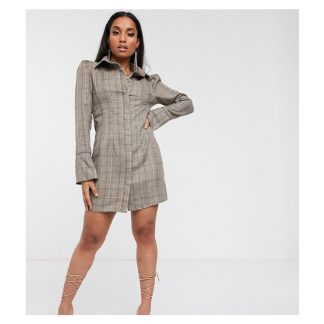 Missguided Petite flute sleeve shirt dress in brown check
