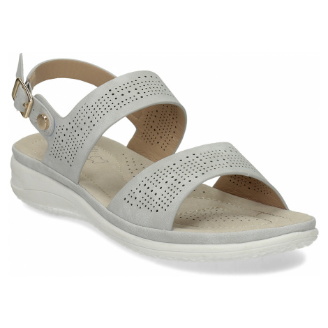 Šedé dámské sandály s perforací Baťa