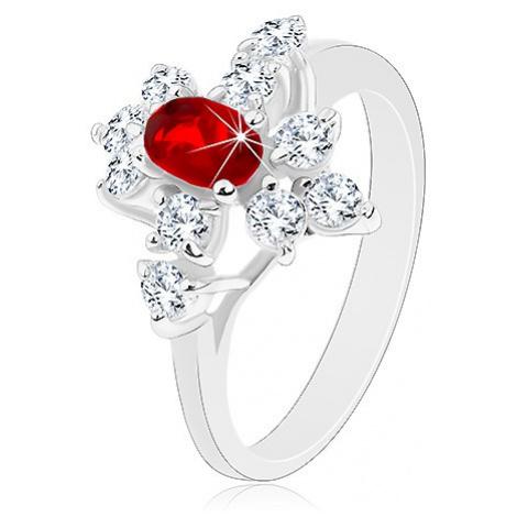 Blýskavý prsten, stříbrná barva, tmavě červený ovál, čiré zirkony