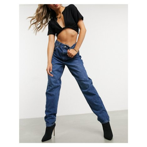 ASOS DESIGN recycled high rise 'slouchy' mom jeans in authentic darkwash-Blue