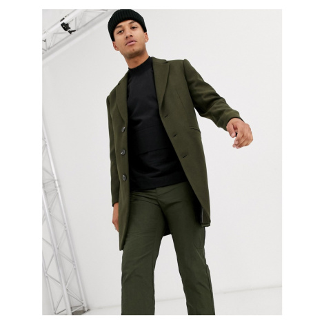ASOS DESIGN wool mix overcoat in khaki-Green