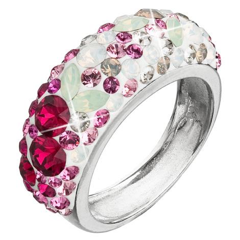 Evolution Group Stříbrný prsten s krystaly Swarovski mix barev červená 35031.3