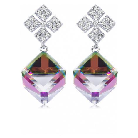 Linda's Jewelry Stříbrné náušnice visací Crystal Cube IN115