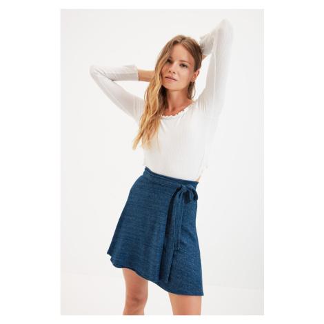 Trendyol Navy Blue Belted Soft Knitted Mini Skirt