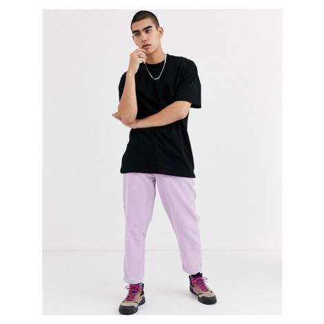 ASOS DESIGN oversized longline t-shirt with crew neck in black