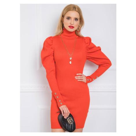 Dark orange striped dress Fashionhunters