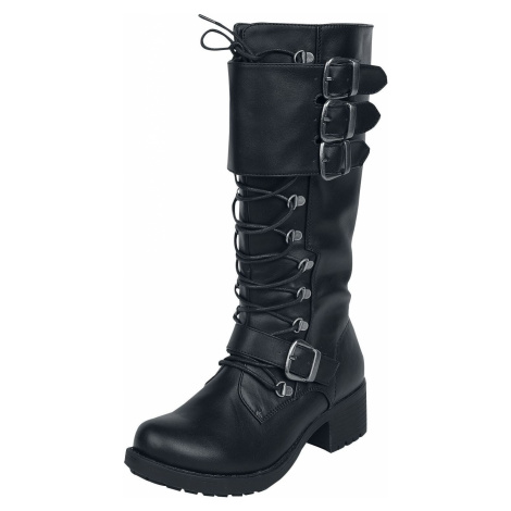Black Premium by EMP Černé šněrovací boty s přezkami obuv černá