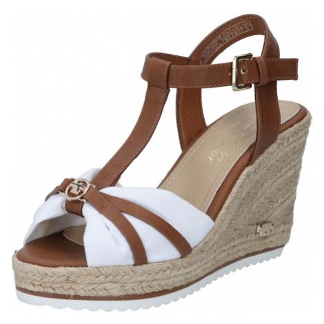 TOM TAILOR Páskové sandály bílá / hnědá