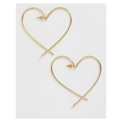 ASOS DESIGN front and back earrings in open heart design in gold tone
