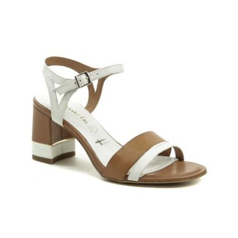 Tamaris 1-28033-24 bílo hnědé dámské sandály Bílá