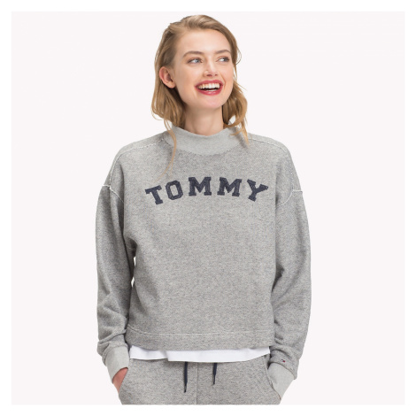 Šedá mikina Logo Cropped Track Top Tommy Hilfiger