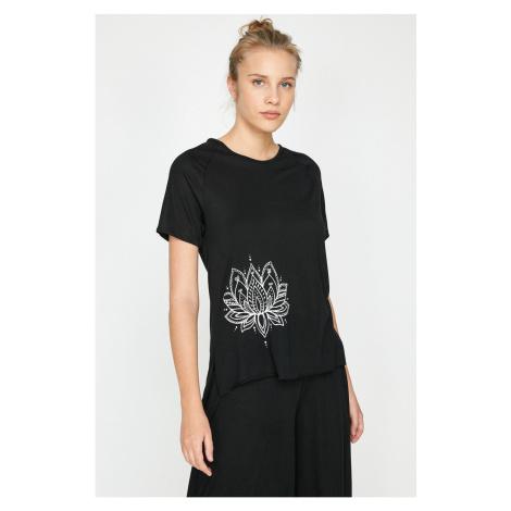 Koton Women's Black Printed T-Shirt