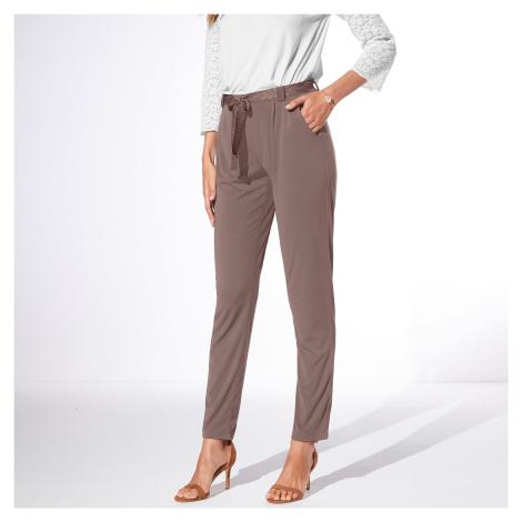 Blancheporte Jednobarevné úpletové kalhoty hnědošedá