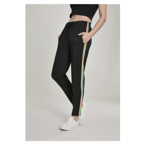 Ladies Multicolor Side Taped Track Pants - black Urban Classics
