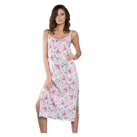Dlouhá noční košile na ramínka Peony květiny Italian Fashion