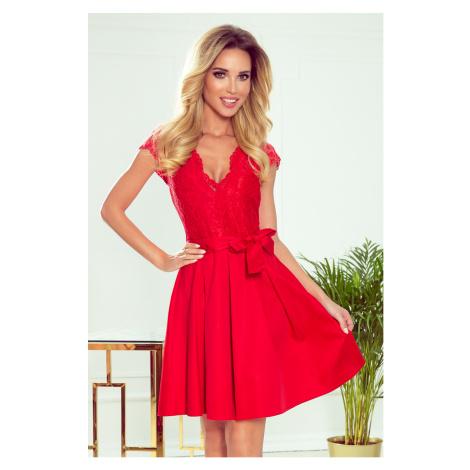 ANNA - Červené dámské šaty s dekoltem a krajkou 242-4 NUMOCO