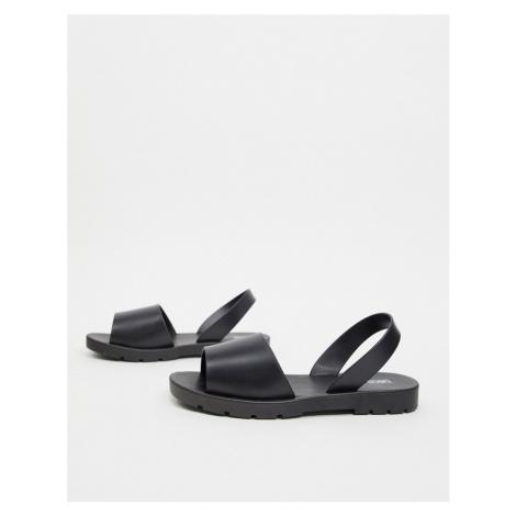 ASOS DESIGN Finale jelly flat sandals in black