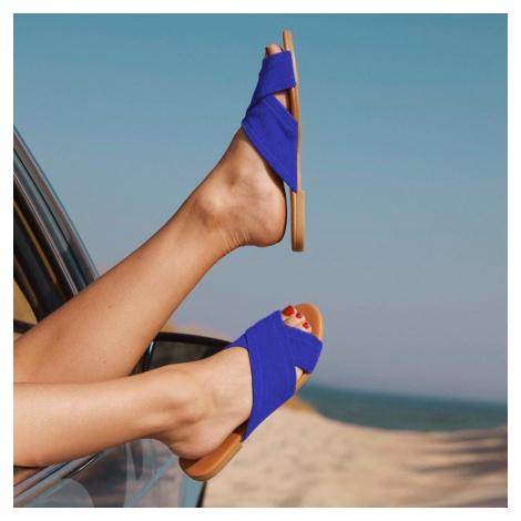 Semišové pantofle: modrá
