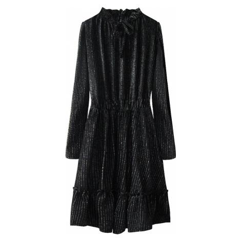 Černé lesklé midi šaty (498ART) černá ONE SIZE Made in Italy