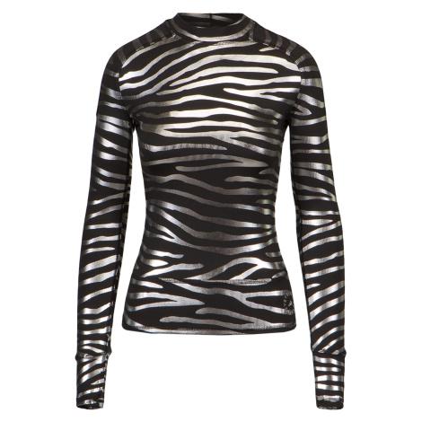 Tričko Adidas by Stella McCartney LONGSL MET vzorkování stříbrná černá