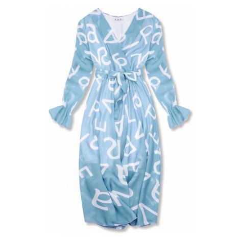 Bledě modré midi šaty s potiskem písmen Butikovo