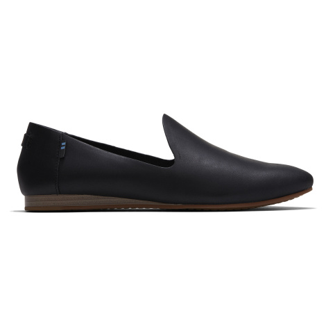 BLK VEG TAN LEATHER WM DARCY FLAT Toms