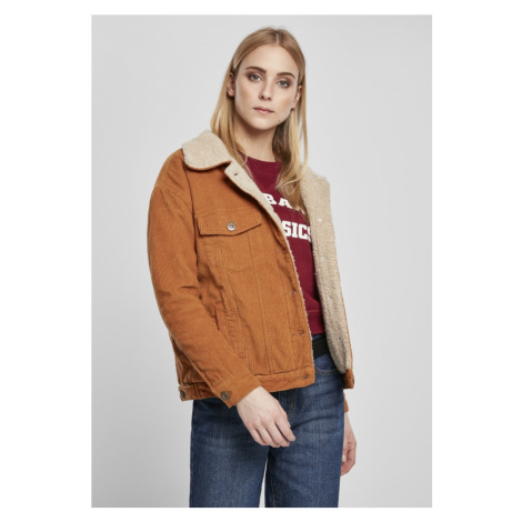 Ladies Oversize Sherpa Corduroy Jacket - toffee/beige Urban Classics