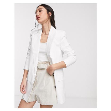 ASOS DESIGN linen dad blazer-White