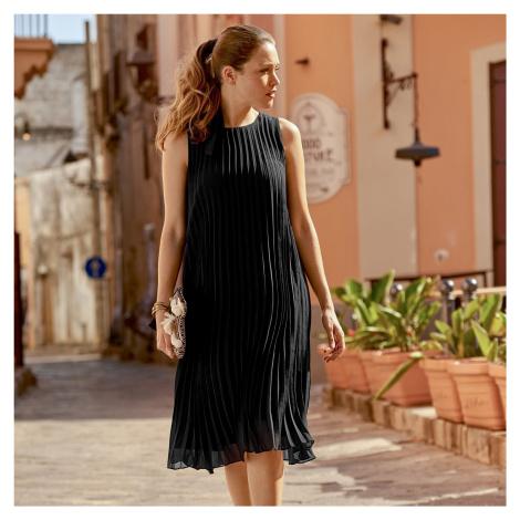 Blancheporte Plisované šaty bez rukávů černá