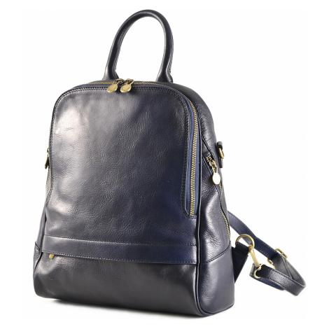 Klasický dámský kabelko-batoh kožený tmavě modrý, 29 x 11 x 33 (6516-41)