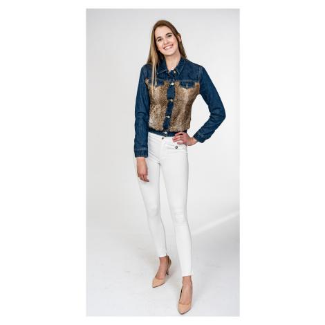Modrá džínová bunda s kožešinou - CYCLE