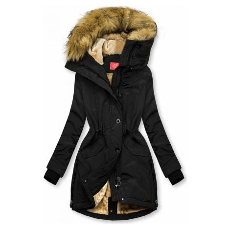 Černá zimní bunda s vysokým límcem Butikovo